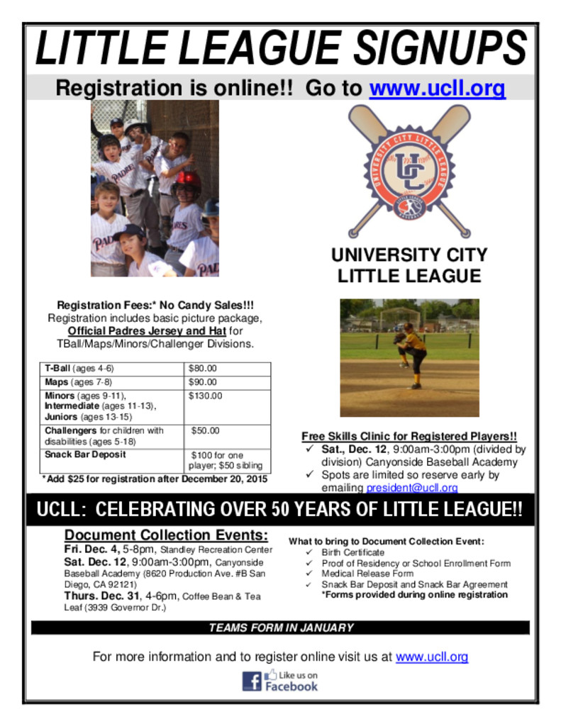 UCLL: Online registration for Spring Little League – University ...