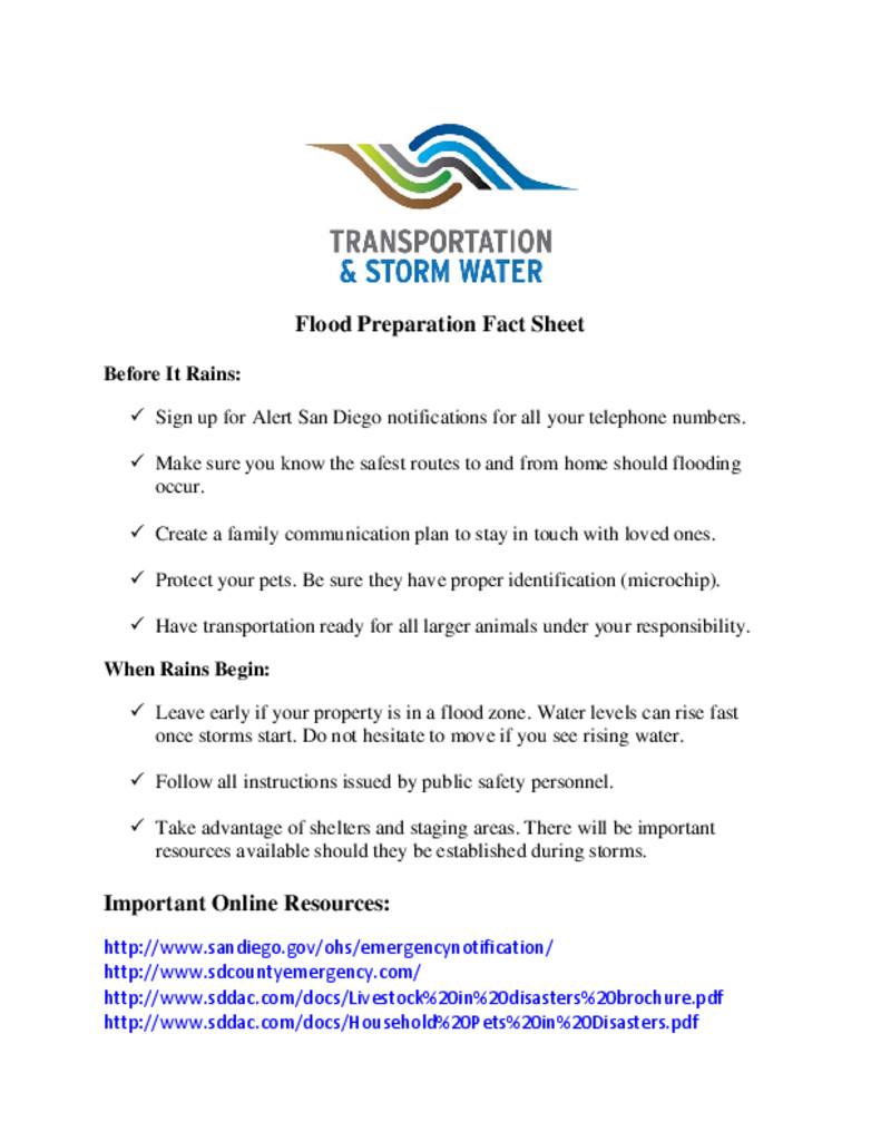 thumbnail of Flood Preparation Fact Sheet