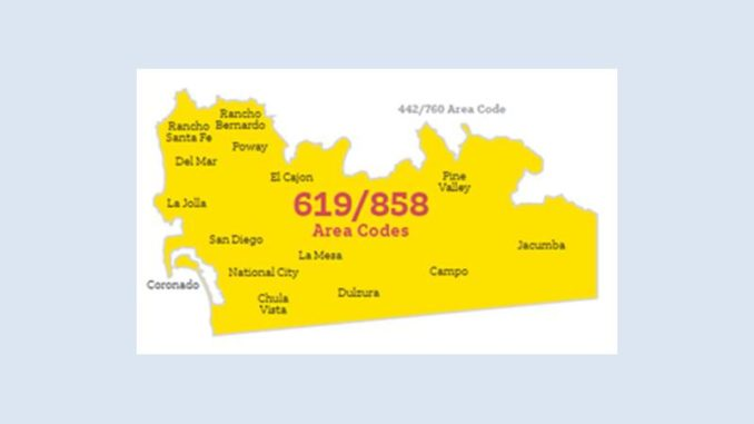 As of May 19, San Diego 619 and 858 area codes require 1 + area code ...