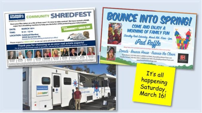 What do a blood drive, shred fest, bounce house and food drive all