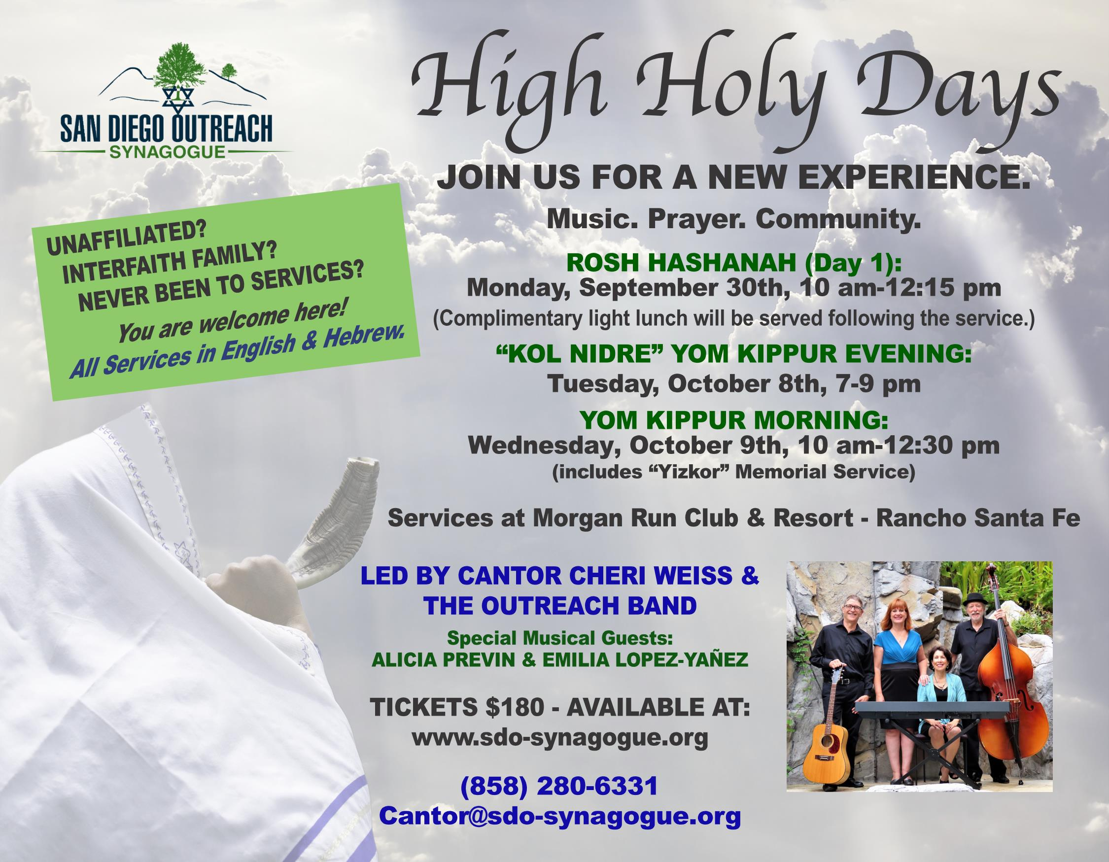 San Diego Outreach Synagogue to host musical High Holy Days